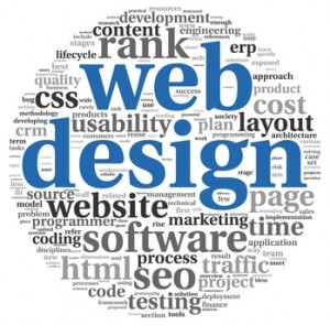 Web design concept in word tag cloud